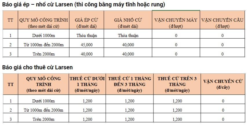 Giá cho thuê cừ larsen Đồng Tháp